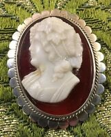 Stunning Vintage/Antique Silver And Glass Cameo Brooch