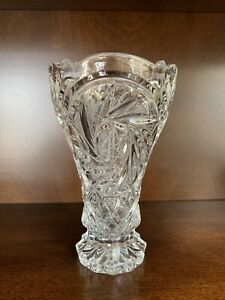 "Vintage Lead Bohemian Crystal Pinwheel Etched Star of David Vase 7"" Tall"