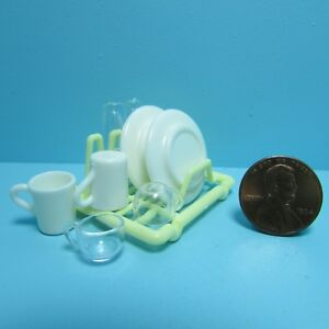Dollhouse Miniature Kitchen Dish Drying Rack with Dishes and Cups G7388