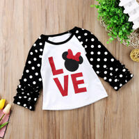 US Stock Christmas Xmas Kids Baby Girls Cotton Top T-shirt Tops Clothes Blouse
