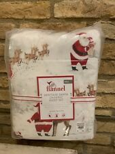Pottery Barn Kids Heritage Santa Sheet Set Full size flannel Christmas Holiday