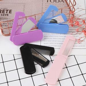 Folding Hair Brush Travel Hair Comb Portable Fold Hair Brush Mirror Travel Co Pt