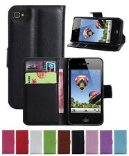 Wallet Leather Flip Card Case Pouch Cover For Apple iPhone 4 4S Genuine AuSeller