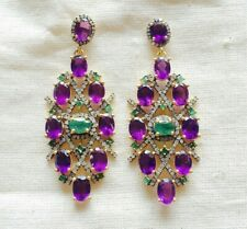 Sterling Silver Earring Fascinating Emerald,Diamond,Fine Amethyst &