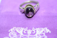 Real Sterling Silver Women's 2.54 Cabochon CT Purple Amethyst Ladies Ring Sz 6.5