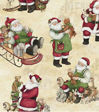 VINTAGE TOYS & SANTA'S WITH SLEDS TOYS GIFTS & MORE CHRISTMAS VALANCE