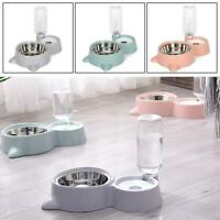 2 in 1 Cat Dog Food Dish Water Feeder Drinker Dispenser Puppy Automatic Pet Bowl