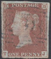 1841 SG8 1d RED BROWN PLATE 73 FINE USED 4 MARGIN RARE BLUE FELTON 298 (TJ)