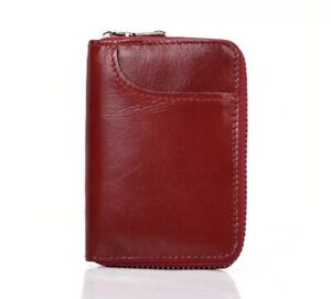 Mens Leather Zipper Slim Wallet RFID Blocking Credit Card Holder Thin Purse