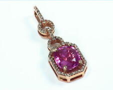 Pink Sapphire Natural Gemstone Diamond Rose Gold Pendent NFG,936