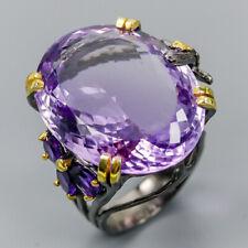Vintage SET38ct+ Natural Amethyst 925 Sterling Silver Ring Size 8/R119209