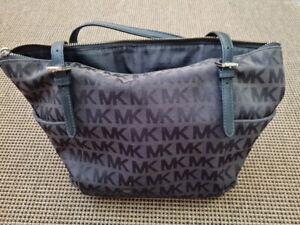 Michael Kors EW TZ Jet Set Signature MK Logo Black Shoulder Tote Bag