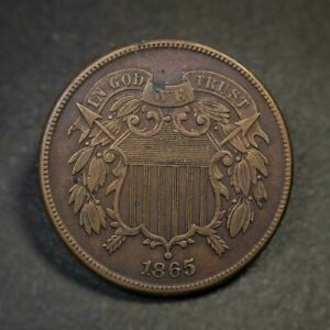 1865 Two Cent Piece VF/XF