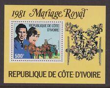 1981 Royal Wedding Charles & Diana MNH Stamp Sheet Ivory Coast Perf