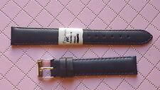 BRACELET MONTRE FLEURUS  CUIR DE vachette / noir / 16mm BRACELET LONG // REF.F20