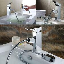 Modern Chrome Brass Pull-Out Kitchen Bathroom Faucet Sink Single Lever Mix Tap