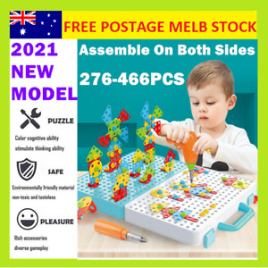 Set Mosaic Building Blocks Peg Electric Drill Assemble Toy Child Christmas Gift