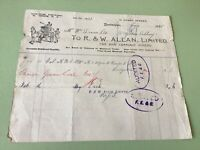 R. & W. Allan 1905 Cab & Carriage Hirers illustrated receipt Ref R32146