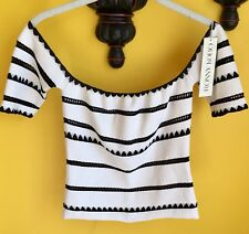 """TORN BY RONNY KOBO """"ADARA"""" EMBROIDERED OFF-SHOULDER TOP, SZ S WHITE & BLACK"""