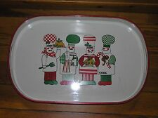 Vintage Large White & Red Lacquer w Christmas Chefs Cooks Oval Tray Platter Made