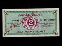 Belgium:P-M2,2 Francs 1946 * Military Issue * ARMEE * A * Specimen * UNC *