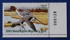U.S. (Wa18) 2003 Washington State Duck Stamp (Mnh) plate # single