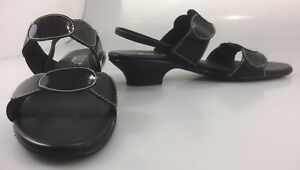 "Munro American Womens 7.5 N Slingback Sandals Black Patent Leather 1.5"" Heel"