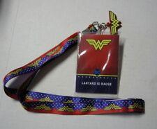 """Wonder Woman Ribbon Lanyard ID Holder By Silver Buffalo,17"""", Brand New"""