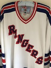 C C M NHL Rangers Jersey Mens Size 2XL White/Red/Blue Jersey Embroidered Logo