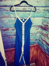 Venus Maxi Dress XL BLUE WHITE GOLD CHAINS SEXY FORMAL LONG GOWN Summer