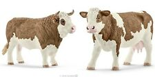 New Schleich 13800 / 13801 - Simmental Bull + Cow Figures  FREE UK DELIVERY !