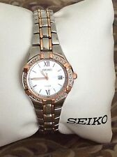Woman's Seiko Solar Diamond Accent Two-Tone Rose Gold Stainless Steel Watch