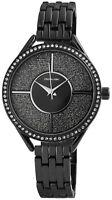 Excellanc Damenuhr Schwarz Strass Analog Metall Quarz Armbanduhr X1800135002