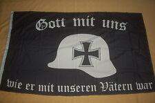 Gott mit uns wie er mit unseren Vätern war Stahlhelm Fahne Flagge 150 x 90 cm