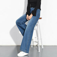 Women's Denim Jeans Wide Leg Pants Straight High Waist Trousers Loose Casual New