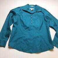 Chicos No Iron Size 0 Teal Blue Button Up Shirt Gem Jewel A1684