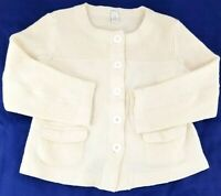 Orvis Womens Sweater 100% Wool Cardigan Button Up Front Cream Size Medium 2X1T