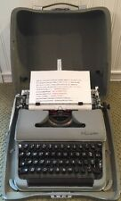 VTG 1958 Olympia SM3 DeLuxe Portable Gray Typewriter & Case Germany Serviced!