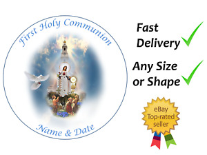 First Holy Communion Christ cake topper edible icing or Wafer personalised
