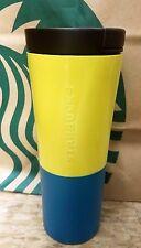 NEW 12 oz Starbucks Blue/yellow Stainless Steel double wall tumbler w/ceramic