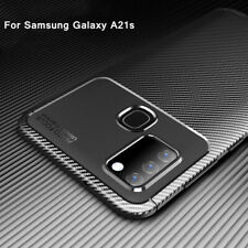 For Samsung Galaxy A21s Case Shockproof Carbon Fiber Silicone Soft Matte Cover