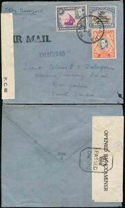 KUT NAIVASHA to INDIA 1944 PoW AIRMAIL CENSORS DHC148 + DHC70 to TRAINING SCHOOL