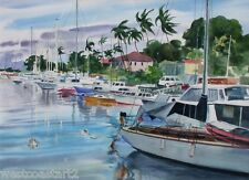 Wayne Lacom Painting Boats in Harbor Hawaii American California Listed Artist