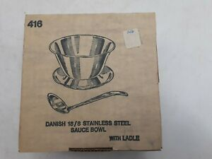 New Vintage Danish 18/8 Stainless Steel Sauce Bowl With Ladle Tableware