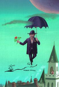 Kunstpostkarte  -  Osamu Komatsu: Gentleman mit Schirm und Rose