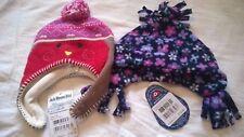 BNWT Jojo Maman Bebe girl 0-12 months polarfleece hat floral knitted fairisle
