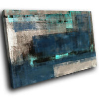 AB1628 Blue Grey Teal Cool Modern Abstract Canvas Wall Art Large Picture Prints