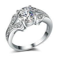 925 Silver Jewelry Pretty Round Cut White Sapphire Women Wedding Ring Size 6-10