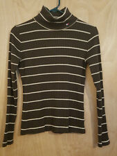 TOMMY HILFIGER Vintage Retro Brown Ribbed Knit Turtleneck Shirt Size M Cotton