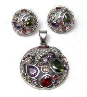 Pendant and Earrings Set Hypoallergenic Surgical Steel Colorful